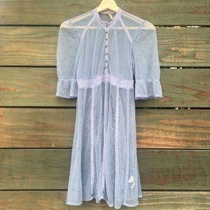 Free People light blue gray lace babydoll dress XS
